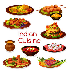 Indian cuisine vegetarian and meat dishes vector