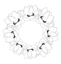 indian lotus outline wreath vector image