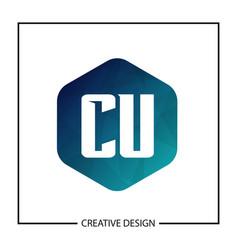 Initial letter cu logo template design vector
