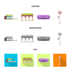 isolated object of train and station icon vector image