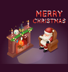 isometric 3d santa claus read gift list sit vector image