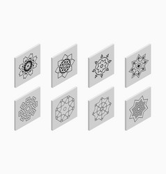 isometric icons with abstract symmetric symbols vector image