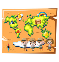 Kids in safari outfit and worldmap in background vector