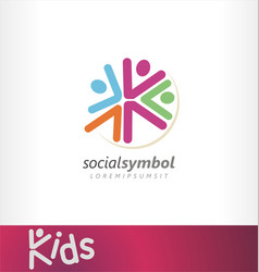 kids logo social events community vector image