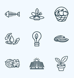 Landscape icons line style set with almond fish vector