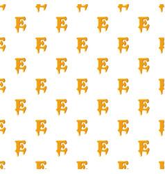 Letter e from honey pattern vector