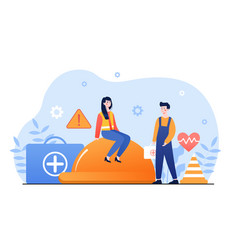 male and female characters covered insurance vector image