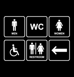 Male and female restroom symbol icons set with vector