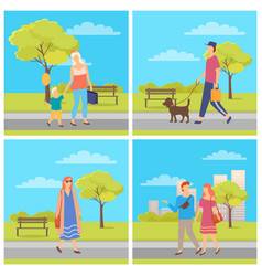 man and woman walking outdoor weekend vector image