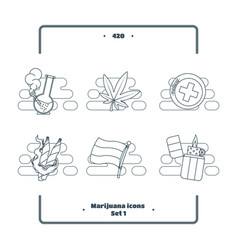 marijuana attributes icons set black one vector image