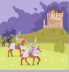medieval knights and castle vector image