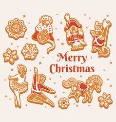 merry christmas greeting card with gingerbread vector image