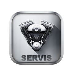 Metal icon with engine vector image