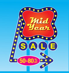 Mid year sale banner template vector