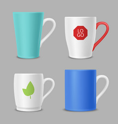 mockup mugs business identity office cups with vector image