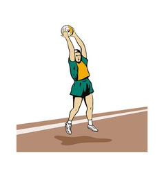 Netball player rebounding vector