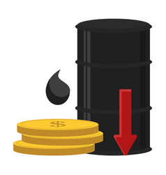 Oil barrel with red arrow down and gold coins vector