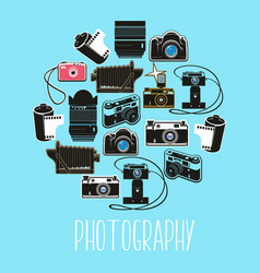 old and modern camera film and flash light vector image
