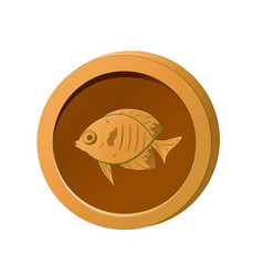 Orange coin with image a fish vector