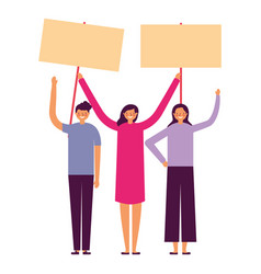 people holding banners vector image