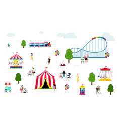 people walking in amusement park vector image