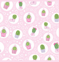 pink cacti tea party seamless pattern vector image