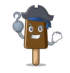 Pirate chocolate ice cream character cartoon vector