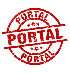 Portal round red grunge stamp vector