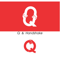 q - letter abstract icon and hands logo design vector image
