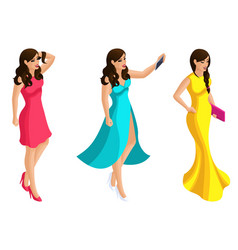 Quality isometry 3d beautiful girl in evening vector