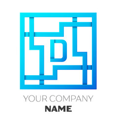realistic letter d logo in colorful square maze vector image