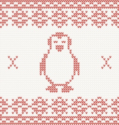 Red knitted penguin vector