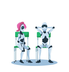 relaxed male and pensive female robot sit on chair vector image