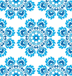 Seamless blue floral Polish folk art pattern vector image