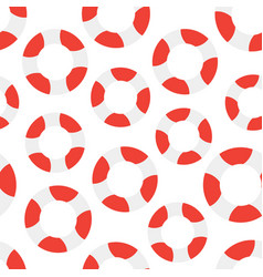seamless pattern with lifebuoy on white background vector image