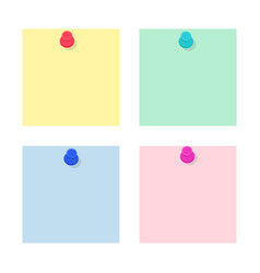 set blank paper note stickers with push pins vector image