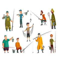 set fishermans fishing with fishing rod vector image
