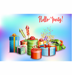 set of gift boxes of different design and vector image