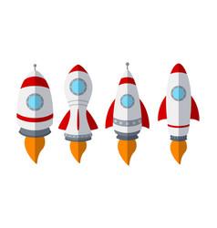 set of rocket ship isolated on white background vector image