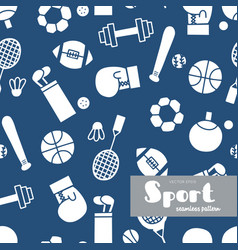set sports icons doodle seamless pattern vector image