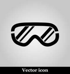 Ski goggles icon on grey background vector