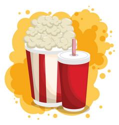 soda and pop corn menu vector image
