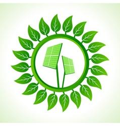 Solar panel inside the leaf background vector image