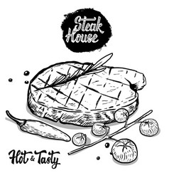 Steak house hand drawn beef steak with rosmarine vector