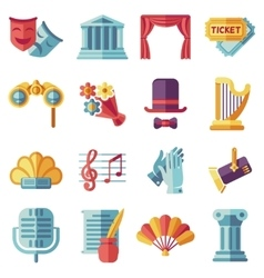 Theatre acting performance flat icons set vector image