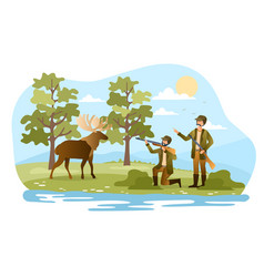 two male hunters are hunting elk in forest vector image