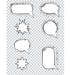 variety cartoon speech bubbles on transparent vector image