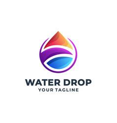 Water drop colorful logo design vector