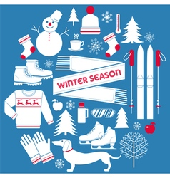 Winter Season Icons Set in Retro Style vector image