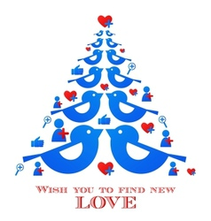 wishes for christmas blue bird tree with social vector image